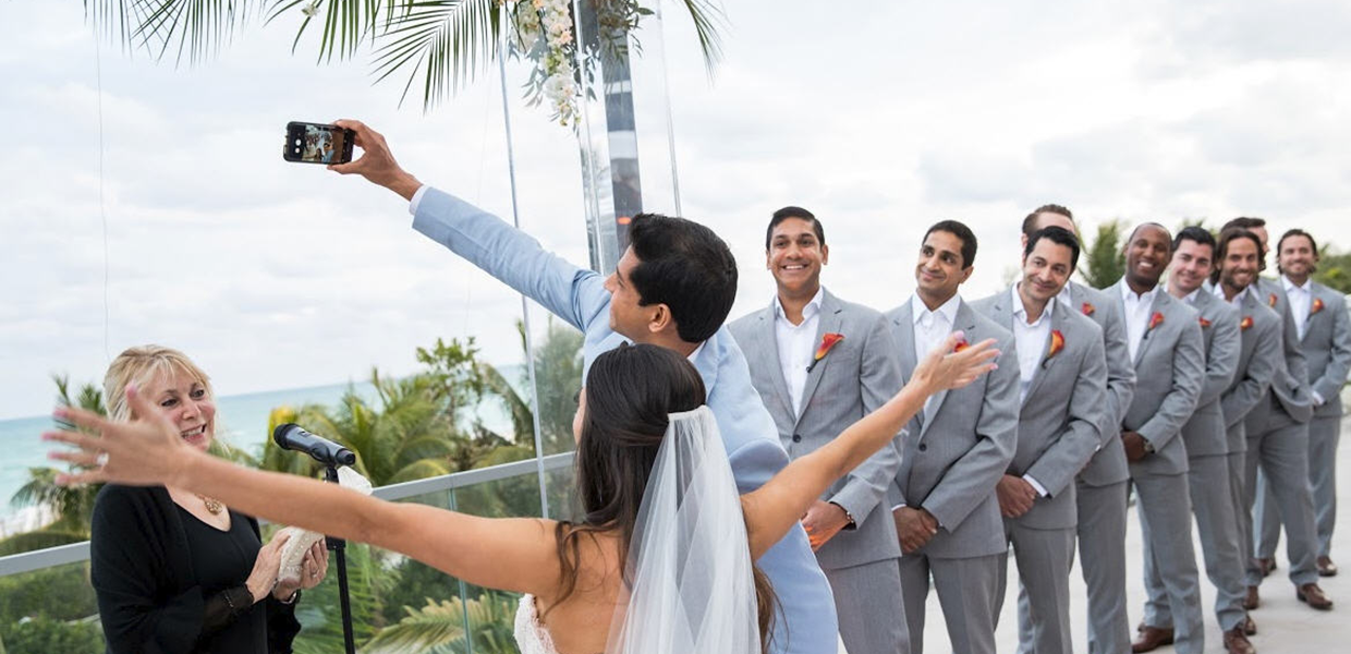 Selfie wedding with officiant Arlene