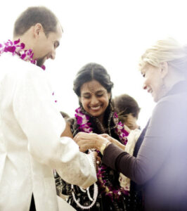 Intercultural Wedding Ceremony - Exchanging the Indian Garland