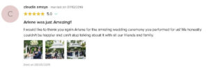 Testimonial that they had a Wonderful Experience